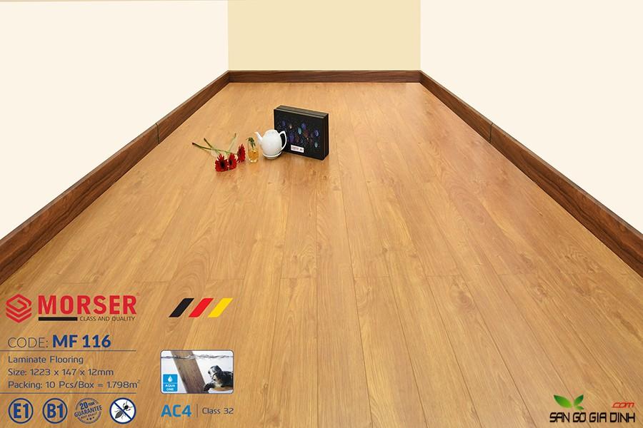 Sàn gỗ Morser cốt trắng 12mm MF116 1
